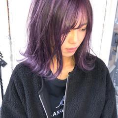 ブリーチ必須 ピンクパープル ヴァイオレット パープル ヘアスタイルや髪型の写真・画像