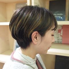 ハンサムショート インナーカラー ショートヘア ショートボブ ヘアスタイルや髪型の写真・画像