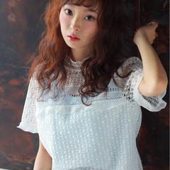 ロング 前髪あり ガーリー フェミニン ヘアスタイルや髪型の写真・画像