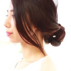 ヘアアレンジ 黒髪 大人かわいい ロング ヘアスタイルや髪型の写真・画像