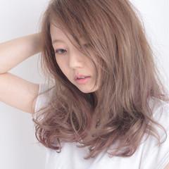 ラフ 大人かわいい ナチュラル ピンク ヘアスタイルや髪型の写真・画像