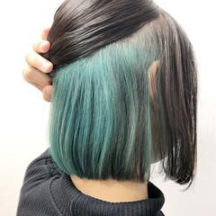 ストリート ボブ インナーカラー ブリーチオンカラー ヘアスタイルや髪型の写真・画像