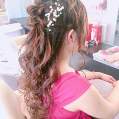ロング かわいい 色気 ハーフアップ ヘアスタイルや髪型の写真・画像