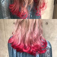 インナーカラー アッシュ ハイライト ミディアム ヘアスタイルや髪型の写真・画像