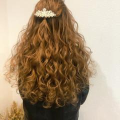 ハーフアップ ブライダル 結婚式 ロング ヘアスタイルや髪型の写真・画像
