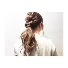 アプリコットオレンジ ナチュラル 簡単ヘアアレンジ ミディアム ヘアスタイルや髪型の写真・画像