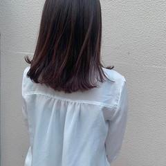 暖色 フェミニン ヘアスタイル セミロング ヘアスタイルや髪型の写真・画像