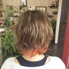 パーマ ガーリー オレンジカラー ショート ヘアスタイルや髪型の写真・画像