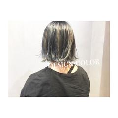 ブルー ボブ ストリート ネイビー ヘアスタイルや髪型の写真・画像