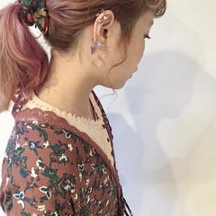 ベージュ ピンクアッシュ グラデーションカラー ストリート ヘアスタイルや髪型の写真・画像