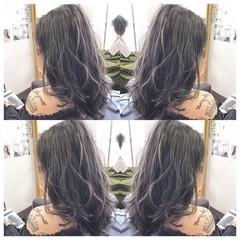 セミロング 外国人風 モード ハイライト ヘアスタイルや髪型の写真・画像