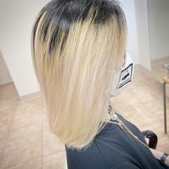 金髪 ホワイトブリーチ ダブルブリーチ ブリーチ ヘアスタイルや髪型の写真・画像