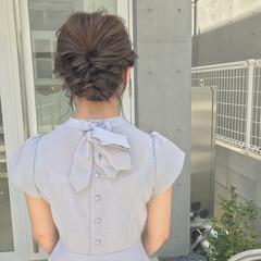 デート セミロング フェミニン 結婚式 ヘアスタイルや髪型の写真・画像