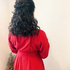 ヘアセット 結婚式 セミロング ヘアアレンジ ヘアスタイルや髪型の写真・画像