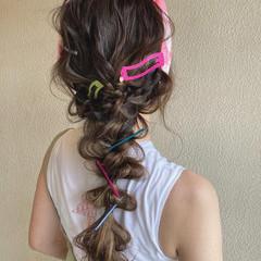 編みおろし 編みおろしヘア ハイトーンカラー ガーリー ヘアスタイルや髪型の写真・画像