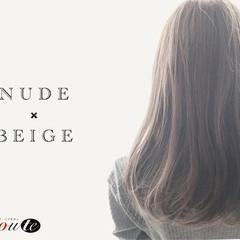 暗髪 アッシュ セミロング 外国人風カラー ヘアスタイルや髪型の写真・画像