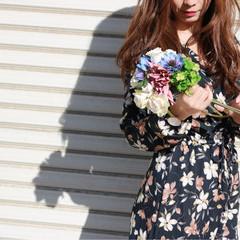 かわいい ロング ヘアアレンジ 花 ヘアスタイルや髪型の写真・画像