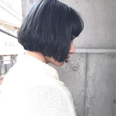 ネイビー ストリート ネイビーアッシュ グレー ヘアスタイルや髪型の写真・画像
