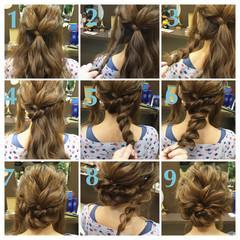 パーティ フェミニン ミディアム ヘアアレンジ ヘアスタイルや髪型の写真・画像