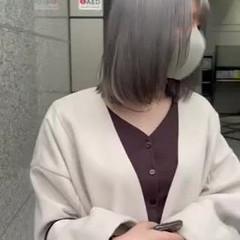 ダブルカラー ボブ シルバーグレー ホワイトシルバー ヘアスタイルや髪型の写真・画像