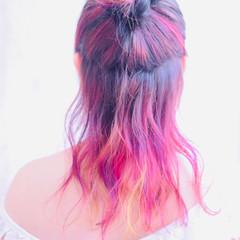 ピンクパープル ピンク フェミニン ピンクバイオレット ヘアスタイルや髪型の写真・画像