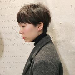 ナチュラル ショート マッシュ 前髪あり ヘアスタイルや髪型の写真・画像