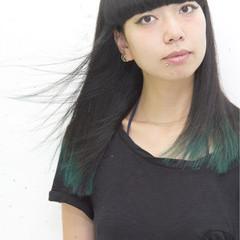 ストリート 黒髪 グリーン セミロング ヘアスタイルや髪型の写真・画像