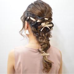 ゆるふわ ロング ヘアアレンジ 編み込み ヘアスタイルや髪型の写真・画像