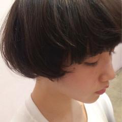 黒髪 ボブ ナチュラル ショート ヘアスタイルや髪型の写真・画像