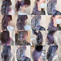 セミロング インナーカラー フェミニン ウルフカット ヘアスタイルや髪型の写真・画像