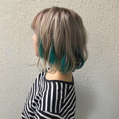ストリート 個性的 ショート カラーバター ヘアスタイルや髪型の写真・画像