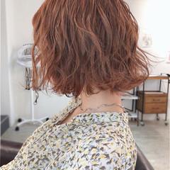 オレンジベージュ オレンジ ナチュラル ボブ ヘアスタイルや髪型の写真・画像