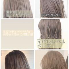 フェミニン グレージュ セミロング ミルクティーグレージュ ヘアスタイルや髪型の写真・画像