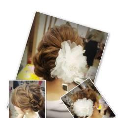 フェミニン ゆるふわ セミロング ヘアアレンジ ヘアスタイルや髪型の写真・画像