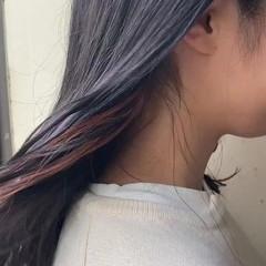 オレンジ モード ロング インナーカラーオレンジ ヘアスタイルや髪型の写真・画像