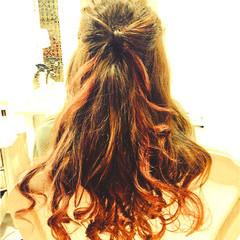 ヘアアレンジ グラデーションカラー ハーフアップ 大人かわいい ヘアスタイルや髪型の写真・画像