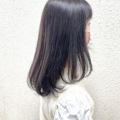 ナチュラル セミロング 黒染め ラベンダー ヘアスタイルや髪型の写真・画像