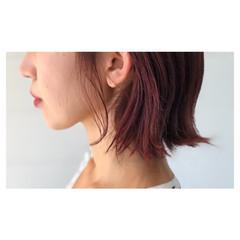 ピンク 大人女子 ラベンダーピンク ボブ ヘアスタイルや髪型の写真・画像