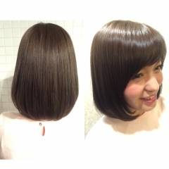 アッシュグレージュ グレージュ 春 ボブ ヘアスタイルや髪型の写真・画像