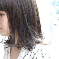 ブルージュ 色気 ミディアム ショートバング ヘアスタイルや髪型の写真・画像