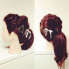 編み込み 簡単ヘアアレンジ ショート ヘアアクセ ヘアスタイルや髪型の写真・画像