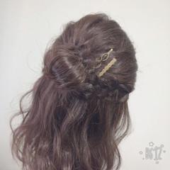 お団子 編み込み セミロング 女子会 ヘアスタイルや髪型の写真・画像