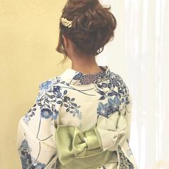 夏 花火大会 アップスタイル 和装 ヘアスタイルや髪型の写真・画像