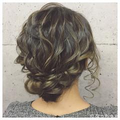 パーティ セミロング 結婚式 ヘアアレンジ ヘアスタイルや髪型の写真・画像