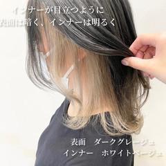 レイヤーカット 韓国ヘア 鎖骨ミディアム インナーカラー ヘアスタイルや髪型の写真・画像