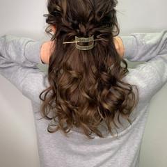 セミロング ナチュラル ヘアセット ヘアアレンジ ヘアスタイルや髪型の写真・画像
