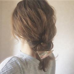 編み込み ボブ ヘアアレンジ ナチュラル ヘアスタイルや髪型の写真・画像