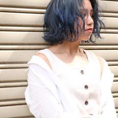 ブルージュ アッシュグレージュ ネイビーブルー ボブ ヘアスタイルや髪型の写真・画像