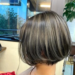 バレイヤージュ ボブ 外国人風 ハイライト ヘアスタイルや髪型の写真・画像