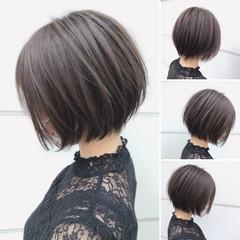 ナチュラル ミニボブ ショートヘア 切りっぱなしボブ ヘアスタイルや髪型の写真・画像